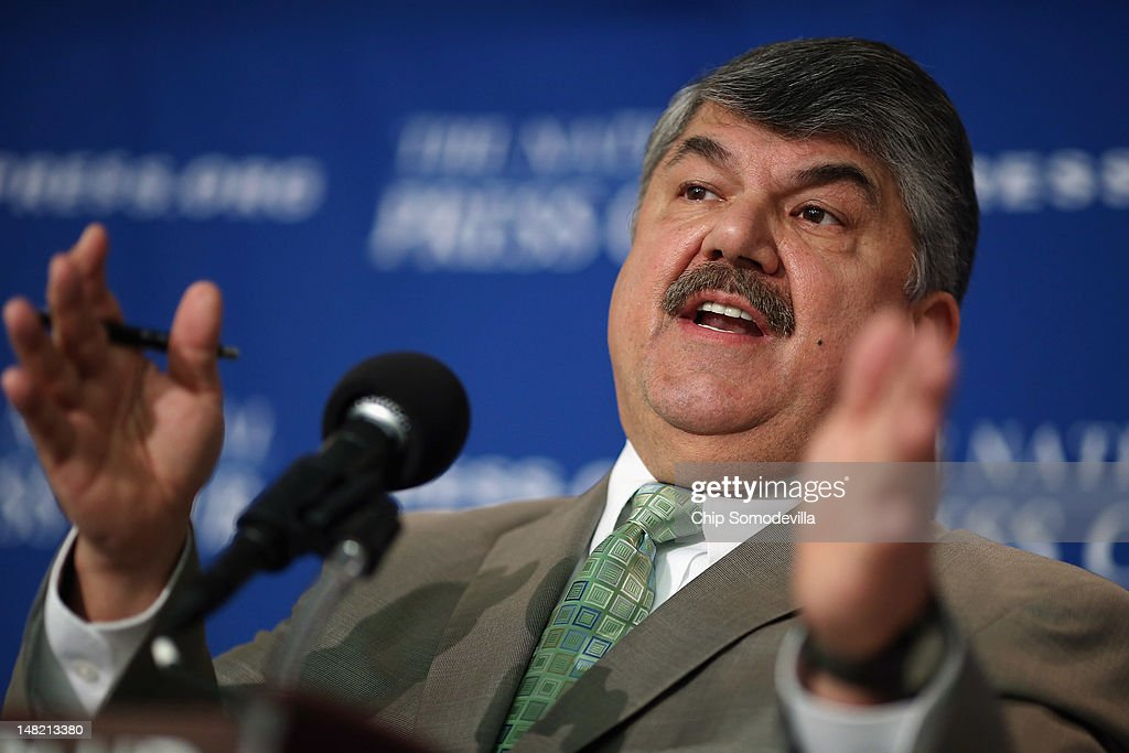 President <a gi-track='captionPersonalityLinkClicked' href=/galleries/search?phrase=Richard+Trumka&family=editorial&specificpeople=2701507 ng-click='$event.stopPropagation()'>Richard Trumka</a> holds a news conference to announce the 'Workers Stand for America' campaign and event at the National Press Club July 12, 2012 in Washington, DC. Trumka and other labor leaders said that working people, both union and non-union, are invited to participate in the event August 11 in Philadelphia, two weeks before the Republican and Democratic party national conventions