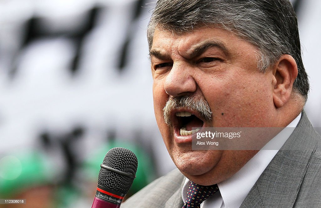 President <a gi-track='captionPersonalityLinkClicked' href=/galleries/search?phrase=Richard+Trumka&family=editorial&specificpeople=2701507 ng-click='$event.stopPropagation()'>Richard Trumka</a> speaks during a rally at the Lafayette Square, north of the White House, April 18, 2011 in Washington, DC. Energy Action Coalition held a rally and a march to protest against corporations that pay no federal taxes.