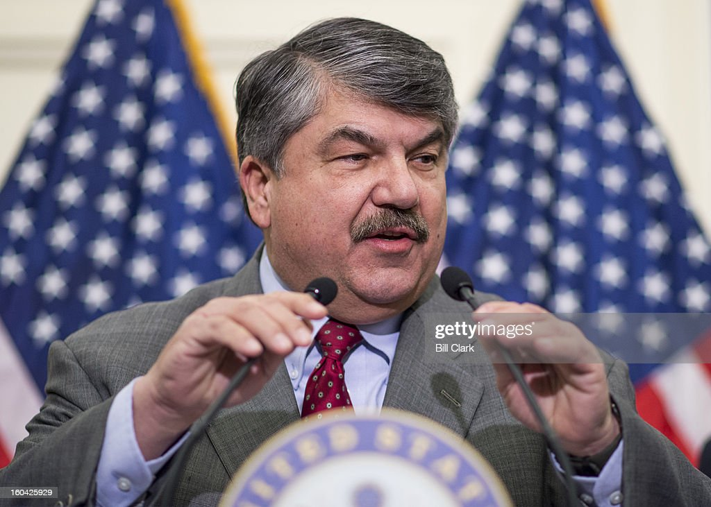 AFL-CIO president Richard Trumka speaks during the news conference to oppose the chained Consumer Price Index to cut benefits for Social Security and disabled veterans on Thursday, Jan. 31, 2013.