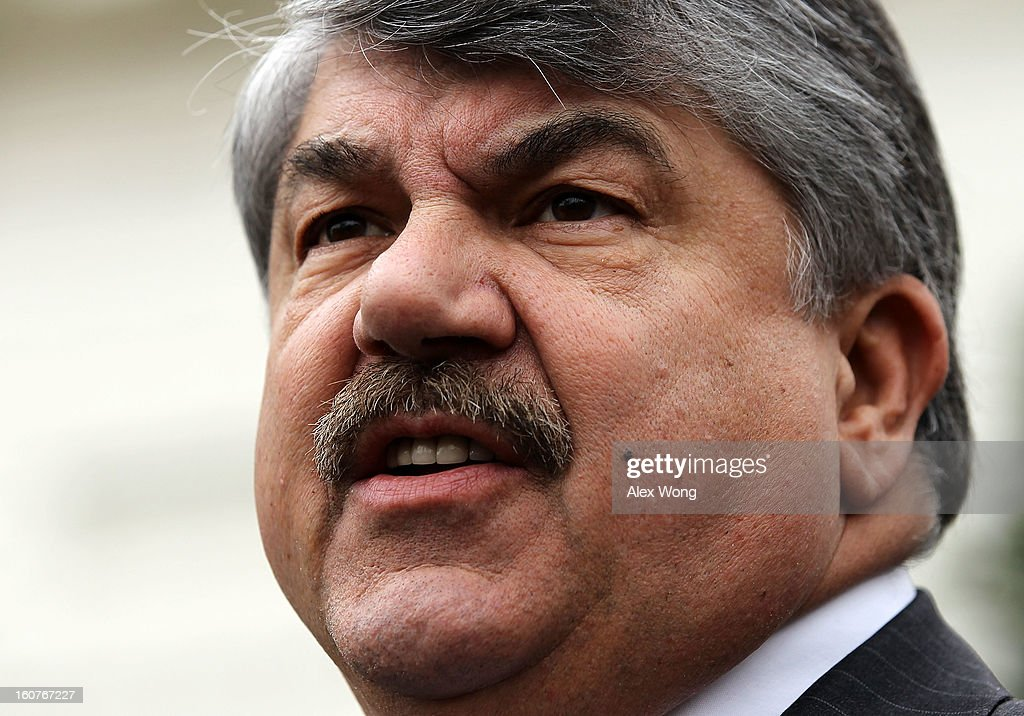 President <a gi-track='captionPersonalityLinkClicked' href=/galleries/search?phrase=Richard+Trumka&family=editorial&specificpeople=2701507 ng-click='$event.stopPropagation()'>Richard Trumka</a> speaks to the press after a meeting with U.S. President Barack Obama at the White House February 5, 2013 in Washington, DC. Obama was meeting with labor leaders to discuss issues including immigration reform, economy, and deficit reduction.