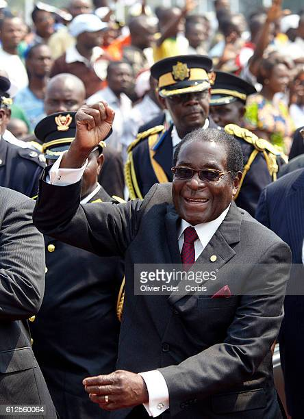 president robert mugabe president of zimbabwe during the military parade in Kinshasa Democratic Republic of Congo Wednesday 30 June 2010 on the day...