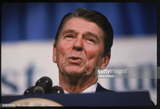 President Ronald Reagan addressing the National Association of Evangelicals in a speech calling the Soviet Union an evil empire