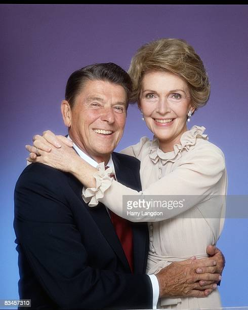 President Ronald Reagan and his wife Nancy pose for a portrait Session in January 1981 in Los Angeles California