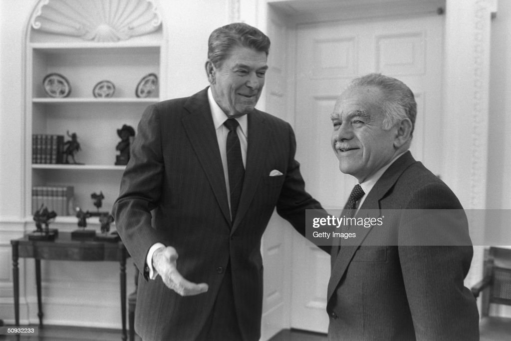 US President Ronald Reagan and Israeli Prime Minister Yitzhak Shamir meet in the White House February 18 1987 in Washington DC Reagan the nation's...
