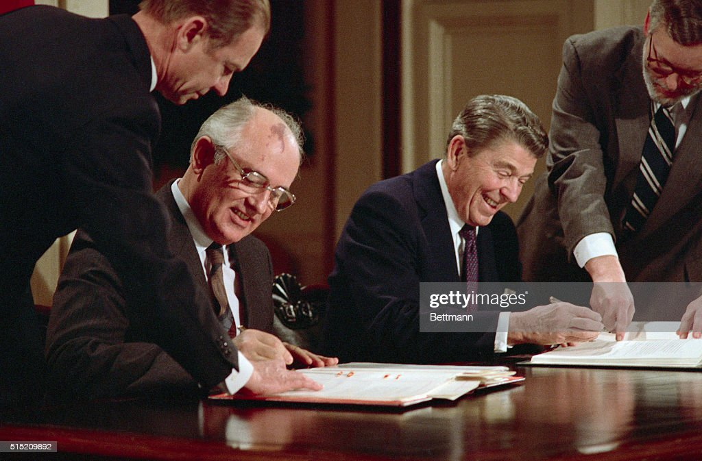 President <a gi-track='captionPersonalityLinkClicked' href=/galleries/search?phrase=Ronald+Reagan+-+US+President&family=editorial&specificpeople=69998 ng-click='$event.stopPropagation()'>Ronald Reagan</a> and Soviet General Secretary <a gi-track='captionPersonalityLinkClicked' href=/galleries/search?phrase=Mikhail+Gorbachev&family=editorial&specificpeople=93773 ng-click='$event.stopPropagation()'>Mikhail Gorbachev</a> signing the arms control agreement banning the use of intermediate-range nuclear missles, the Intermediate Nuclear Forces Reduction Treaty.