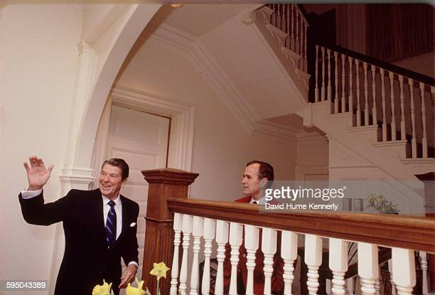 President Ronald Reagan and Vice President George HW Bush at the Vice President's residence on February 23 1981 in Washington DC
