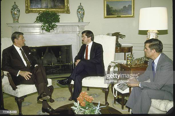 President Ronald Reagan meeting with Iowa Governor Terry Branstad Agri Secretary John Block prob re aid to farmers in Oval Office