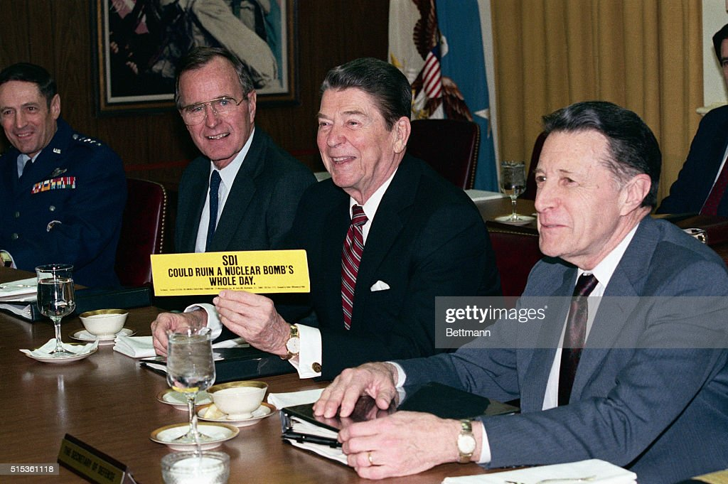 President Ronald Reagan showing support for the Strategic Defense Initiative nicknamed Star Wars The bumper sticker reads SDI could ruin a nuclear...
