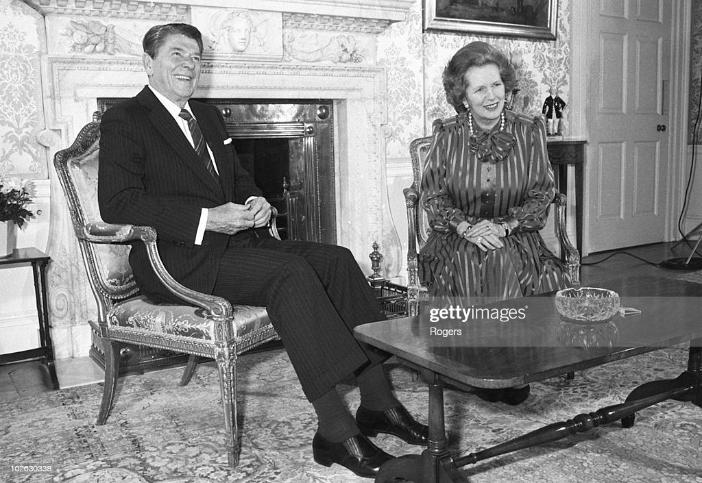 US President <a gi-track='captionPersonalityLinkClicked' href=/galleries/search?phrase=Ronald+Reagan+-+US+President&family=editorial&specificpeople=69998 ng-click='$event.stopPropagation()'>Ronald Reagan</a> sits with British Prime Minister <a gi-track='captionPersonalityLinkClicked' href=/galleries/search?phrase=Margaret+Thatcher&family=editorial&specificpeople=159677 ng-click='$event.stopPropagation()'>Margaret Thatcher</a> at 10 Downing Street, London on June 05, 1984.