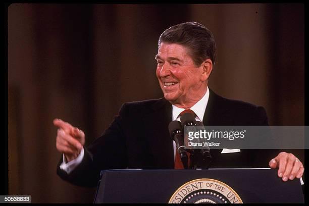 President Ronald Reagan speaking at his first formal press conference since July 1984