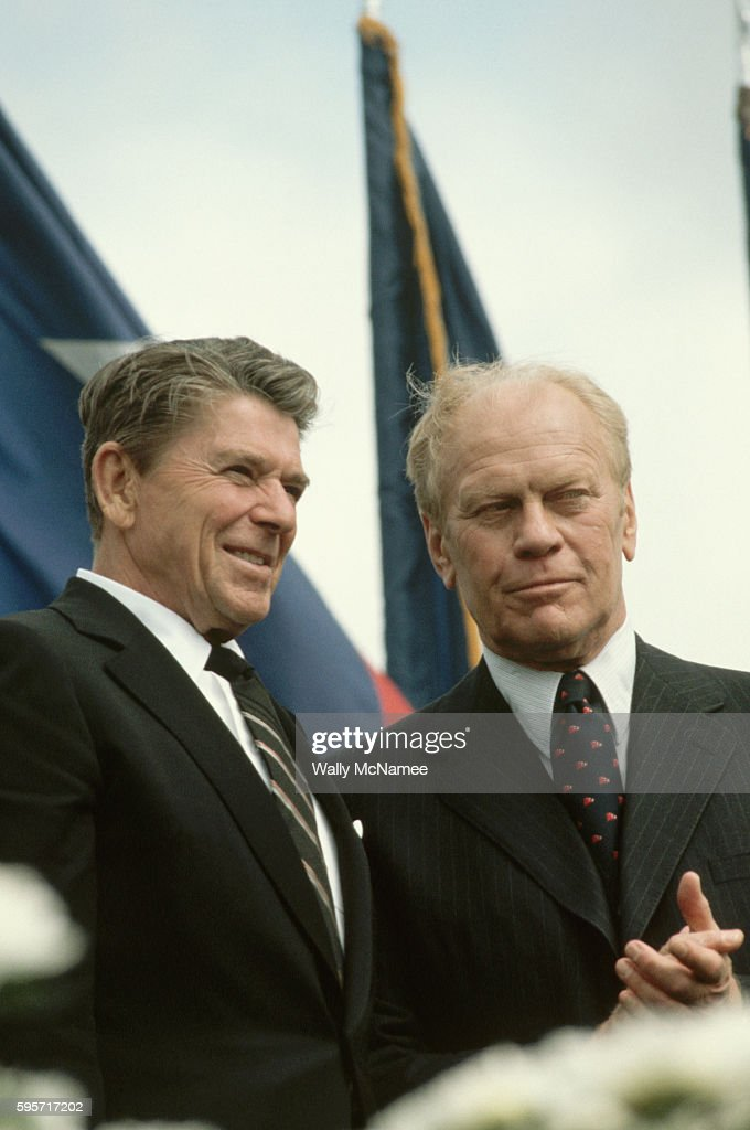 President Ronald Reagan stands with former President Gerald Ford at the dedication of the Ford Presidential Libary in Grand Rapids Michigan