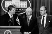 President Ronald Reagan with House Speaker Jim Wright and Majority Leader Robert Byrd during budget briefing
