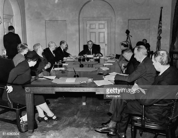 President Roosevelt and his cabinet are pictured as they met here September 27th to study the threatening European situation shortly before the...