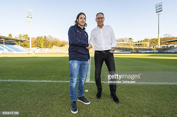 President Ruediger Fritsch and new head coach Torsten Frings are seen during SV Darmstadt 98 unveils new signing head coach at JonathanHeimesStadion...
