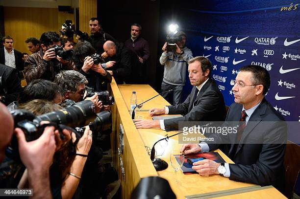 President Sandro Rosell and FCB VicePresident Josep Maria Bartomeu face the media during the press conference announcing his resgination as FCB...