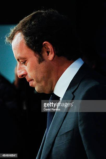 President Sandro Rosell looks down during the press conference announcing his resgination as FCB president on January 23 2014 in Barcelona Spain FCB...