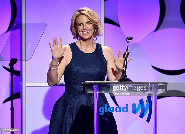 CEO President Sarah Kate Ellis onstage during the 26th Annual GLAAD Media Awards at The Beverly Hilton Hotel on March 21 2015 in Beverly Hills...