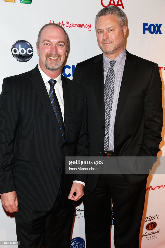 President Sean Perry (R) and HRTS Executive Director Dave Perrara attend the Junior Hollywood Radio & Television Society (JHRTS) Holiday Party at Boulevard3 on December 11, 2012 in Hollywood, California.