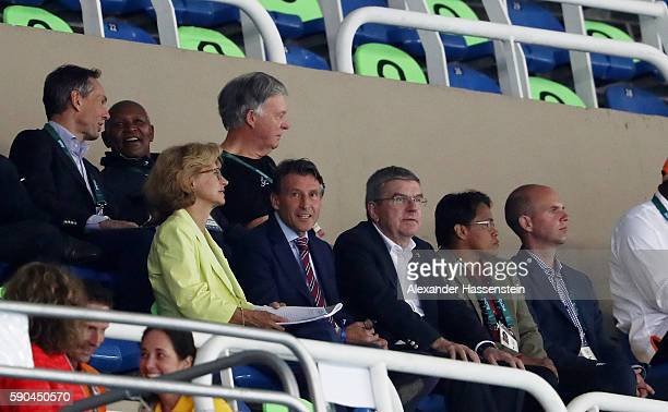 President Sebastian Coe and IOC President Thomas Bach attend the Athletics events on Day 11 of the Rio 2016 Olympic Games at the Olympic Stadium on...