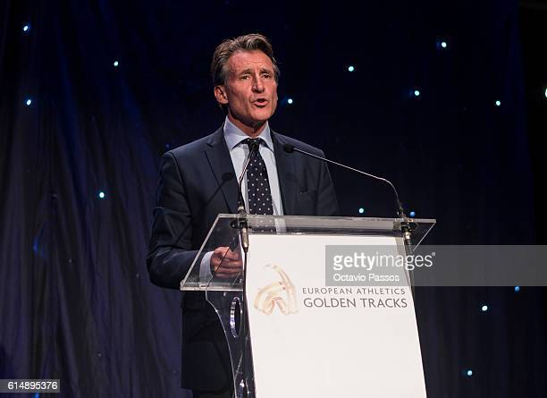 President Sebastian Coe speaks during the European Athletics Golden Tracks Awards on October 15 2016 in Funchal Madeira Portugal