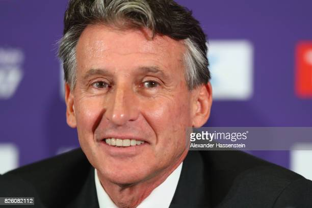 President Sebastian Coe speaks to the media during a IAAF/LOC Press Conference at the at ExCel on August 3 2017 in London England