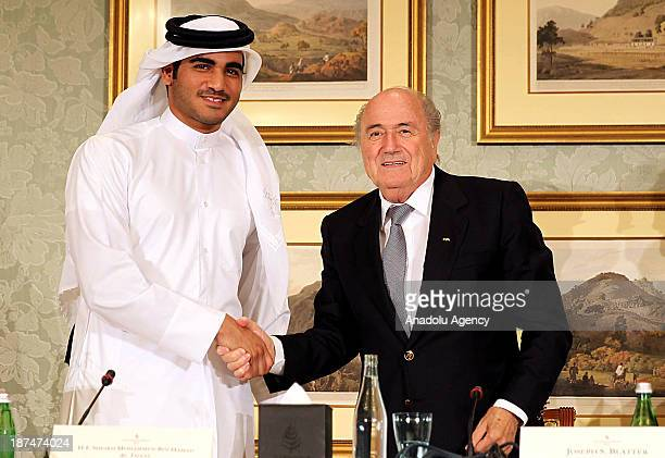 President Sepp Blatter and the Chairman of Qatar 2022 bid committee Sheik Mohammed bin Hamad alThani hold a press conference on November 9 2013 in...