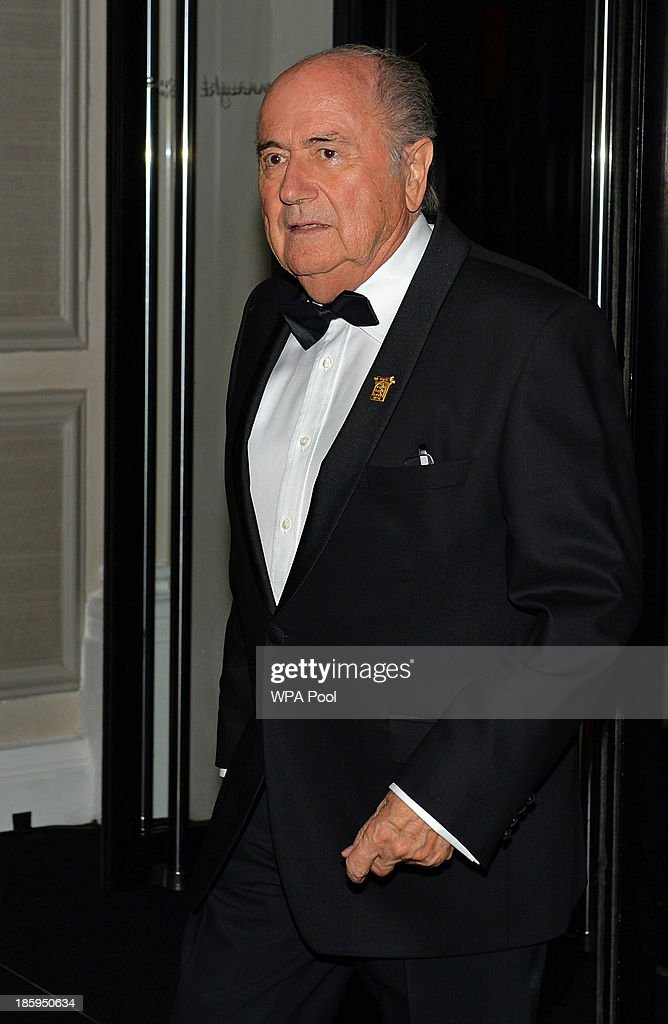 President <a gi-track='captionPersonalityLinkClicked' href=/galleries/search?phrase=Sepp+Blatter&family=editorial&specificpeople=209372 ng-click='$event.stopPropagation()'>Sepp Blatter</a> arrives to attend The Football Association's 150th Anniversary Gala Dinner at the Grand Connaught Rooms on October 26, 2013 in London, England. The Duke of Cambridge is president of the Football Association, which was founded 150 years ago on October 26, 1863. The event marks the day when a group of men representing a dozen London and suburban clubs met at the Freemason's Tavern in London, to draw up the rules of a sport that went on to become the most popular in the world.