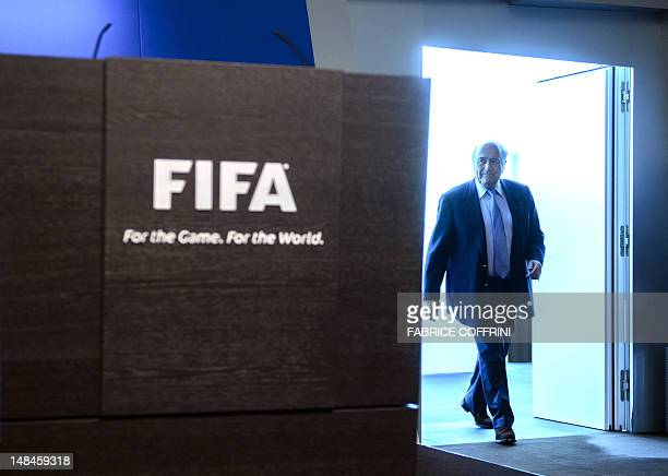 FIFA president Sepp Blatter arrives to hold a press conference at the headquarters of world football's governing body on July 17 2012 in Zurich FIFA...