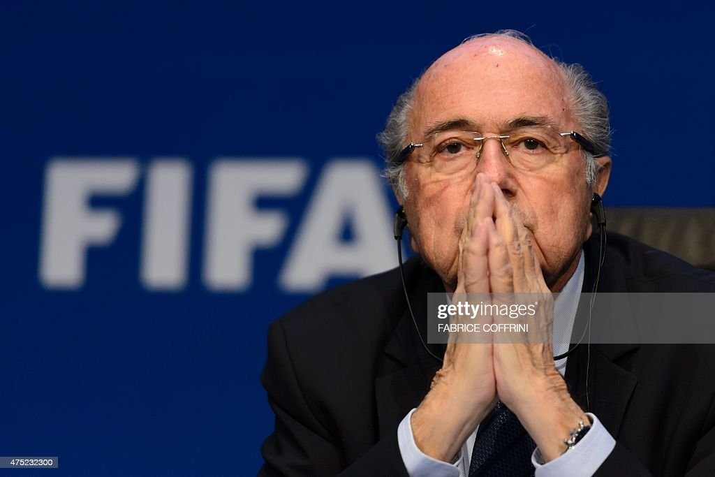 FIFA president <a gi-track='captionPersonalityLinkClicked' href=/galleries/search?phrase=Sepp+Blatter&family=editorial&specificpeople=209372 ng-click='$event.stopPropagation()'>Sepp Blatter</a> attends a press conference on May 30, 2015 in Zurich after being re-elected during the FIFA Congress. Blatter said he was 'shocked' at the way the US judiciary has targeted football's world body and slammed what he called a 'hate' campaign by Europe's football leaders.