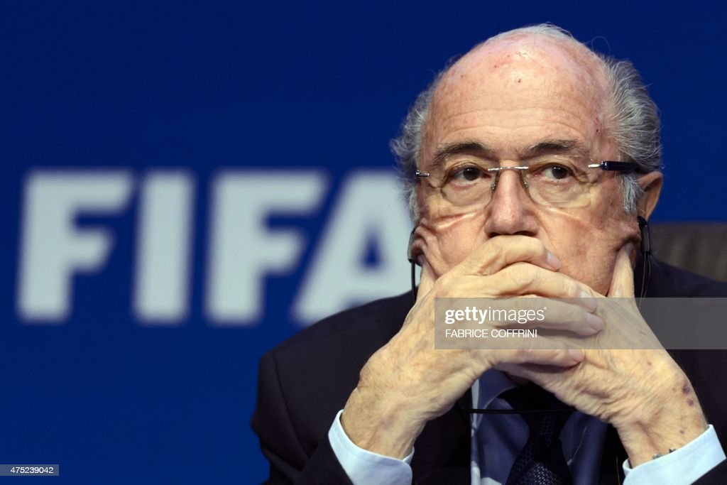 FIFA president <a gi-track='captionPersonalityLinkClicked' href=/galleries/search?phrase=Sepp+Blatter&family=editorial&specificpeople=209372 ng-click='$event.stopPropagation()'>Sepp Blatter</a> attends a press conference on May 30, 2015 in Zurich after being re-elected during the FIFA Congress. Blatter said he was 'shocked' at the way the US judiciary has targeted football's world body and slammed what he called a 'hate' campaign by Europe's football leaders. AFP PHOTO / FABRICE COFFRINI