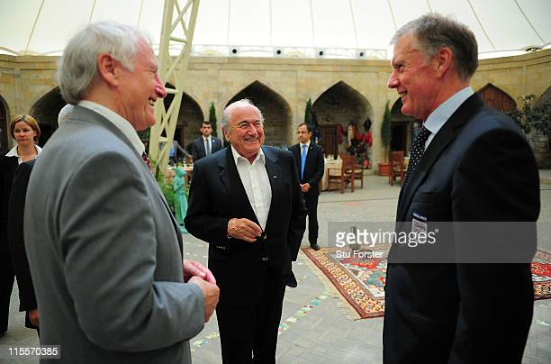 FIFA president Sepp Blatter chats with West Germany's 1966 World Cup Final goalkeeper Hans Tilkowski and England hat trick hero Sir Geoff Hurst...