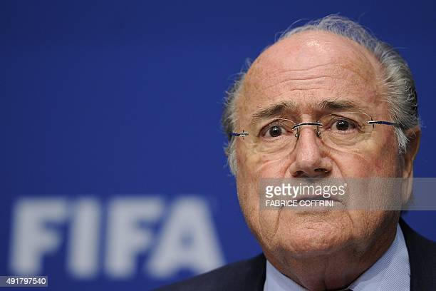 President Sepp Blatter gives a press conference with Interpol SecretaryGeneral Ronald K Noble on May 9 2011 at the headquarters of the world...