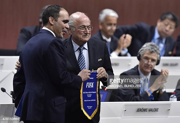 President Sepp Blatter poses with Jordanian Prince Ali bin al Hussein FIFA vice president and challenger to Blatter during the 65th FIFA Congress in...
