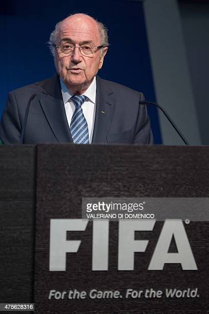 President Sepp Blatter speaks during a press conference at the headquarters of the world's football governing body in Zurich on June 2 2015 Blatter...