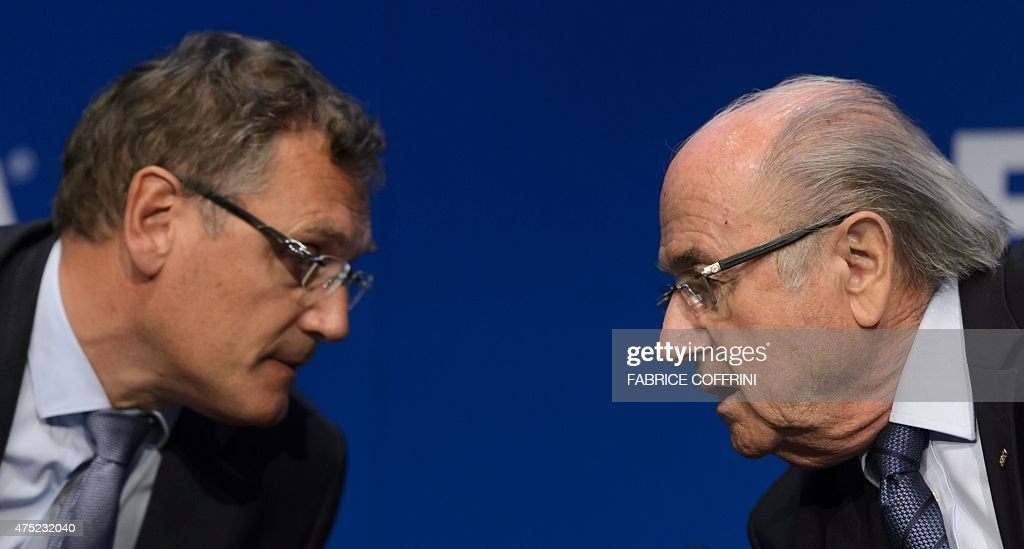 FIFA president <a gi-track='captionPersonalityLinkClicked' href=/galleries/search?phrase=Sepp+Blatter&family=editorial&specificpeople=209372 ng-click='$event.stopPropagation()'>Sepp Blatter</a> (R) speaks with FIFA Secretary General <a gi-track='captionPersonalityLinkClicked' href=/galleries/search?phrase=Jerome+Valcke&family=editorial&specificpeople=4375385 ng-click='$event.stopPropagation()'>Jerome Valcke</a> during a press conference on May 30, 2015 in Zurich after being re-elected during the FIFA Congress. Blatter said he was 'shocked' at the way the US judiciary has targeted football's world body and slammed what he called a 'hate' campaign by Europe's football leaders.