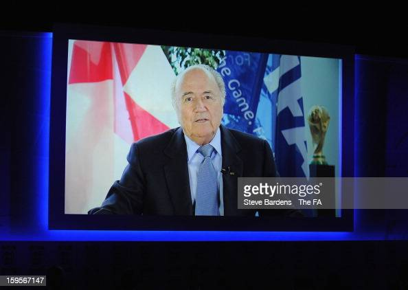 FIFA president Sepp Blatter talks during the official launch to mark the FA's 150th Anniversary Year at the Grand Connaught Rooms on January 16 2013...