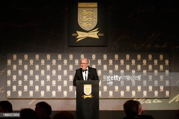 President Sepp Blatter talks on stage at The Football Association's 150th Anniversary Gala Dinner at the Grand Connaught Rooms in central London on...