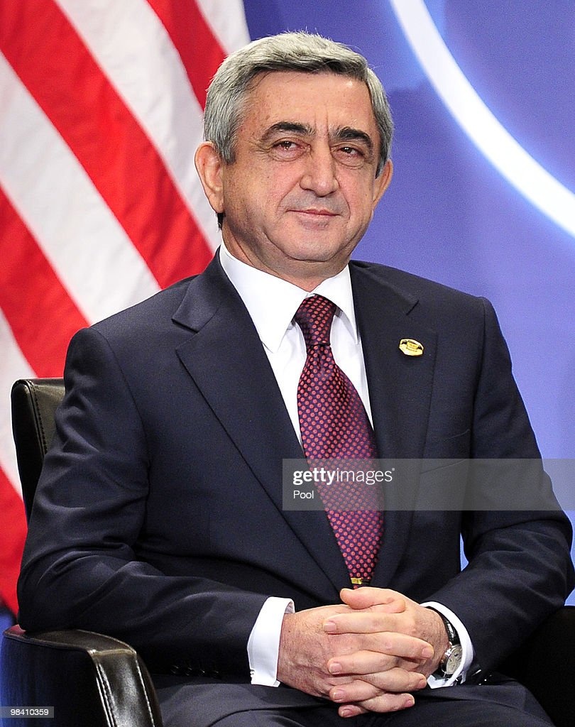 President <a gi-track='captionPersonalityLinkClicked' href=/galleries/search?phrase=Serzh+Sargsyan&family=editorial&specificpeople=4583219 ng-click='$event.stopPropagation()'>Serzh Sargsyan</a> of Armenia meets with U.S. President Barack Obama (not pictured) on the sidelines of the Nuclear Security Summit at the Washington Convention Center April 12, 2010 in Washington, DC. President Obama was to hold bilateral meetings today with five leaders of the 47 nations gathering for the two-day Nuclear Security Summit.