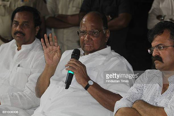President Sharad Pawar addresses a press conference on January 4 2017 in Mumbai India Pawar criticised the slew of announcements made by the PM Modi...