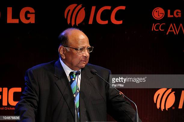 ICC president Sharad Pawar addresses the during the audiance during the ICC Annual Awards at the Grand Castle on October 6 2010 in Bangalore India