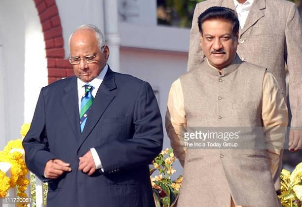 ICC president Sharad Pawar along with Maharashtra chief Minister Prithviraj Chavan during a reception hosted by President Pratibha Patil at Rajbhavan...