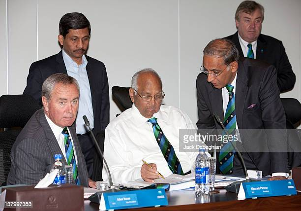 President Sharad Pawar convenes with Chief Executive Haroon Lorgat as Vice President Alan Isaac looks on prior to the Executive Board meeting at the...