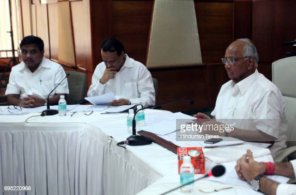 NCP president Sharad Pawar Maharashtra Dy CM Ajit Pawar and Home Minister RR Patil during the NCP Executive Committee meeting at Bandra