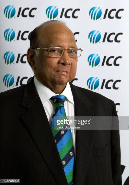 President Sharad Pawar poses for a portrait at the International Cricket Council Executive Board meeting on October 12 2010 in Dubai United Arab...