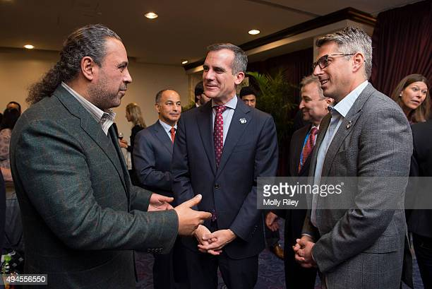 President Sheikh Ahmad AlFahad AlSabah speaks with Casey Wasserman LA 2024 Chairman and Los Angeles Mayor Mayor Eric Garcetti at the reception hosted...