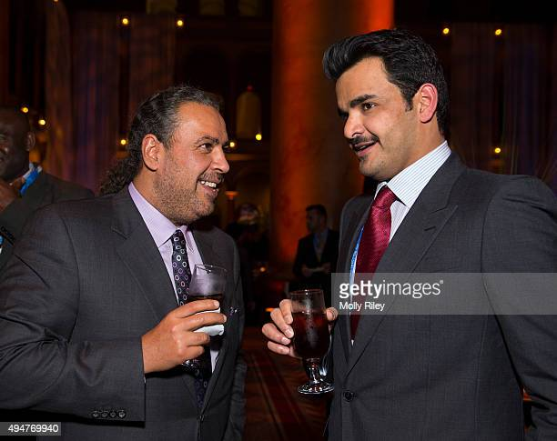 President Sheikh Ahmad AlFahad AlSabah talks with Qatar Olympic Committee President Sheikh Tamim Bin Hamad AlThani at the USOC Welcome Reception at...