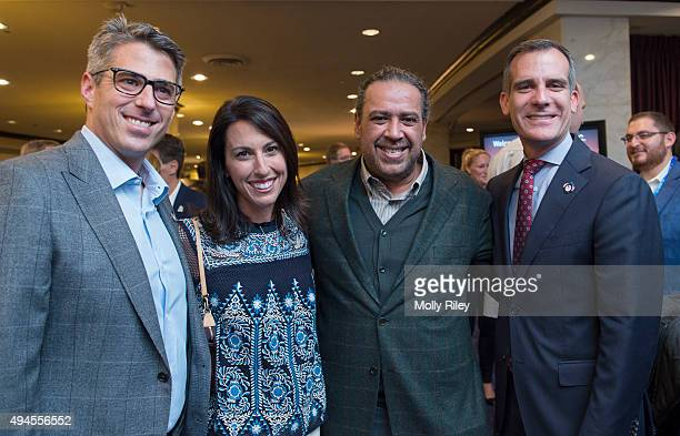 President Sheikh Ahmad AlFahad AlSabah with Casey Wasserman LA 2024 Chairman Janet Evans LA 2024 Vice Chair and Los Angeles Mayor Mayor Eric Garcetti...