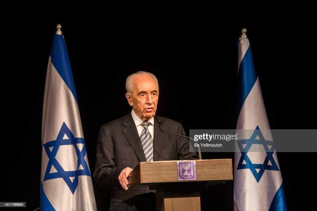 President Shimon Peres speaks during a press conference for foreign media on July 6, 2014 in Sderot, Israel. Peres decided to give a conference in the southern Israeli city, due to recent escalation in rocket fire from Gaza. This was the foreign media's final press conference with Shimon Peres as he comes to the end of his term as President.