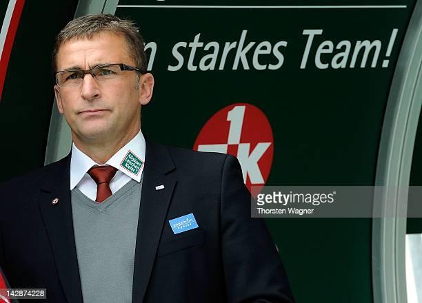 President Stefan Kuntz of Kaiserslautern looks on during the Bundesliga match between 1FC Kaiserslautern and FC Nuernberg at FritzWalterStadion on...
