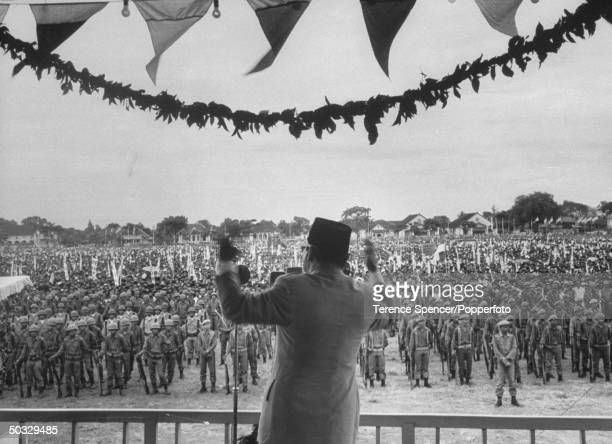 President Sukarno addressing Indonesia Army at Makassar on the way back to Jakarta from celebrating Indonesian takeover of Dutch New Guniea